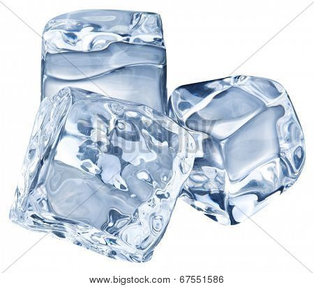 Three ice cubes on white background. Clipping pats.