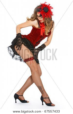 Burlesque. Cute, beautiful woman on a white background