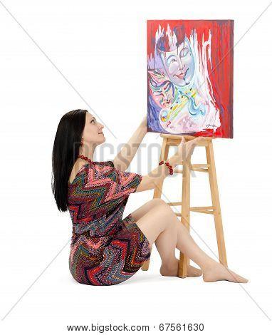 Artist Showing Abstract Painting Metamorphosis