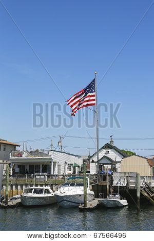 American flag flying in Freeport, Long Island