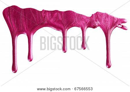 Blot Of Pink Nail Polish Isolated On White Background poster