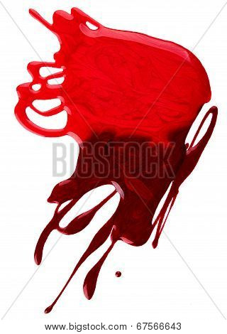 Blots of red nail polish isolated on white background poster