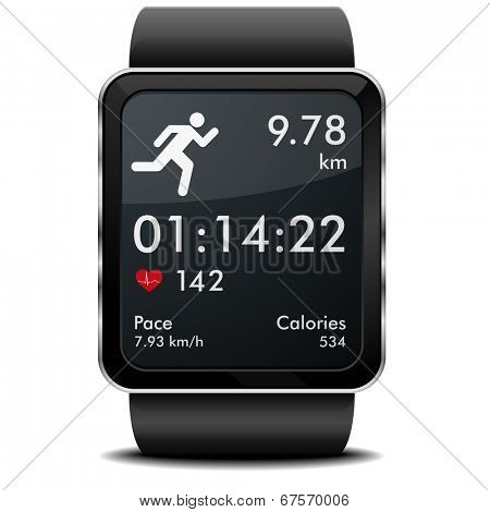 detailed illustration of a smartwarch with fitness app with heart rate monitor, distance and timer, eps10 vector