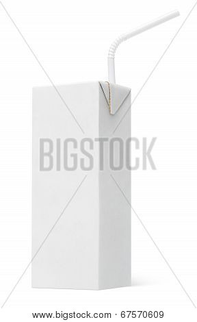 200 ml milk or juice carton package with straw isolated on white poster