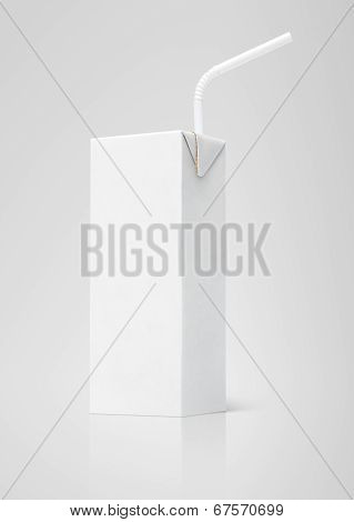 200 ml milk or juice white carton package with straw on gray background poster
