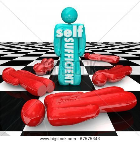 Self Sufficient  person or game piece chess board power being independent