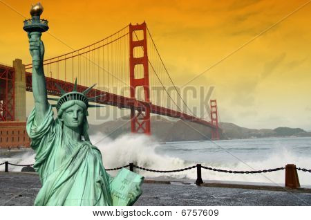 Tourism Concept San Francisco And Statue Liberty