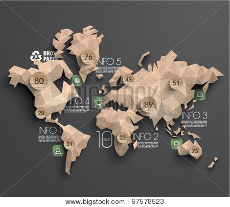 Vector Brown Paper Polygonal World Map Graphics
