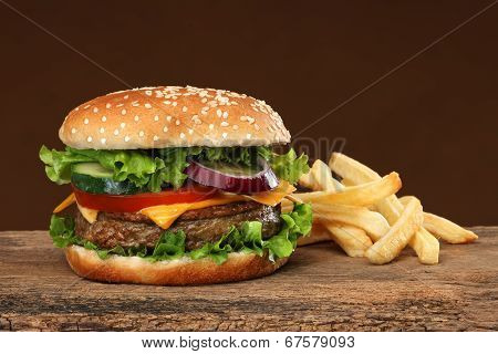 Tasty hamburger and french frites