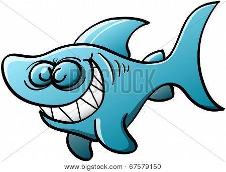 Mischiebous blue shark grinning