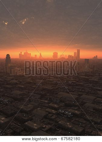 Future City at Sunset