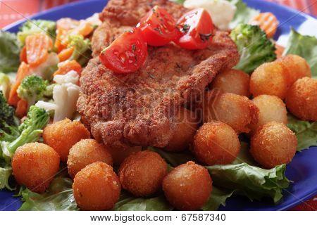 Classic vienna steak, viener schnitzel, breaded beef or veal cutlet