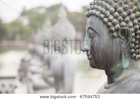 Statute of Buddha in a row. Close-up on the face of Buddha.