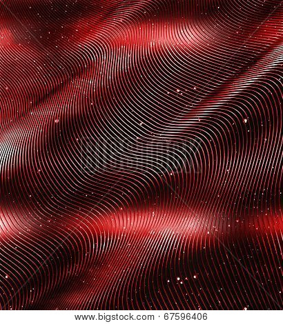 An Abstract Space Warp In Red And Black
