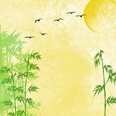 yellow textured background featuring bamboo plants, sun shine and flying birds poster