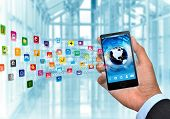 Smart phone as gadget or device to connect to internet world wide web and multimedia application poster