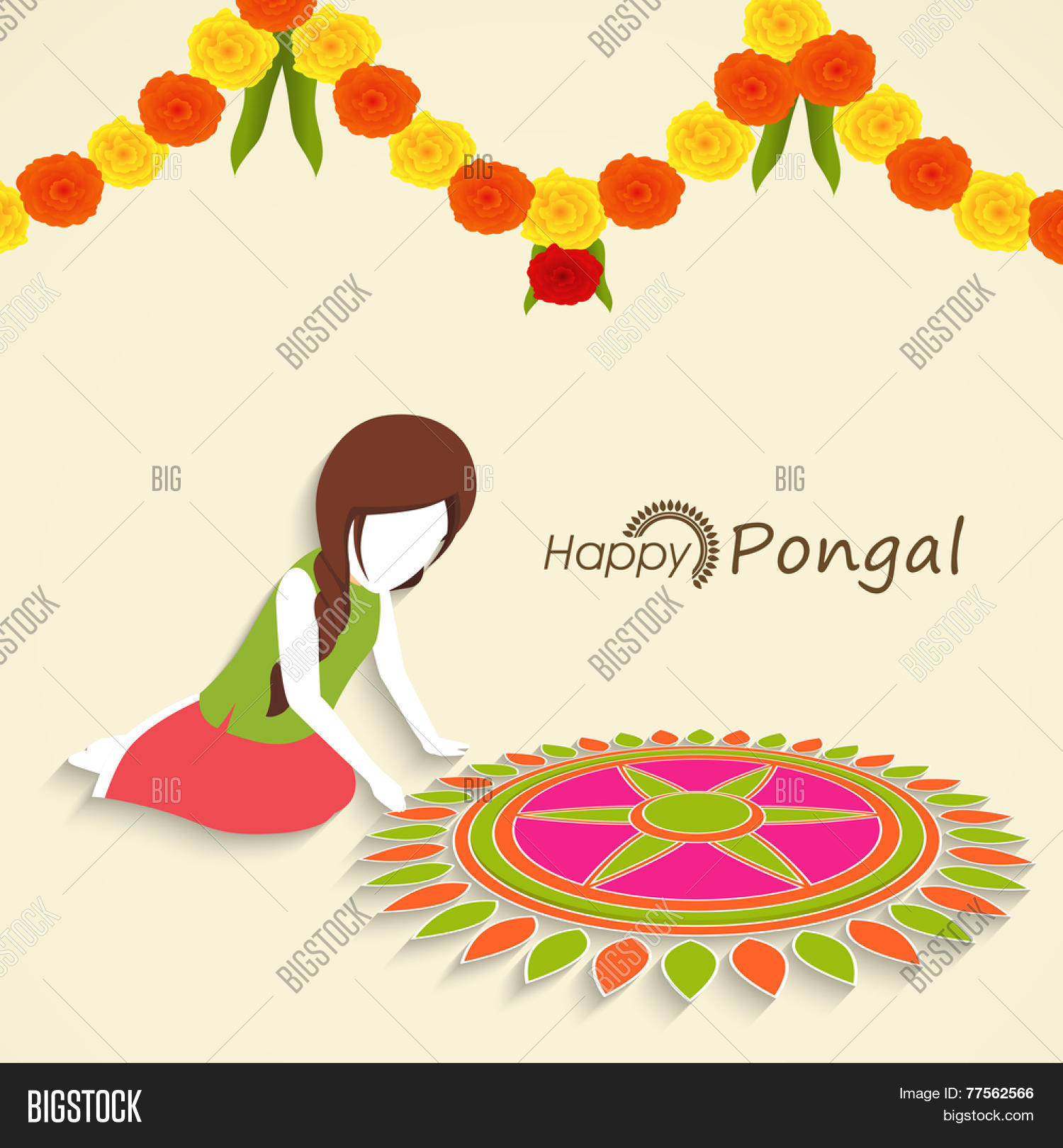 Little Girl Making Floral Design Called Rangoli With Colorful Flowers Decoration For South Indian Harvesting Festival