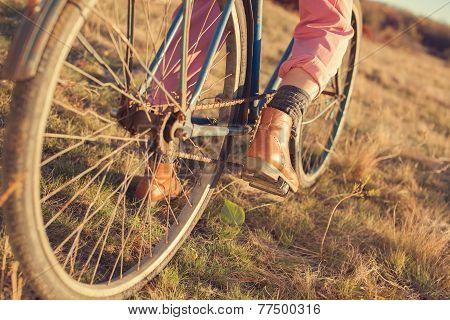 Oldfashioned Girl Ready To Ride A Retro Bike