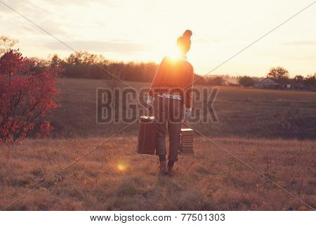 Hipster Styled Leaving Woman