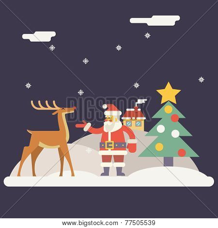 Winter Santa Claus and Rudolph Deer Characters New Year Landscape Christmas Icon Greeting Card Flat