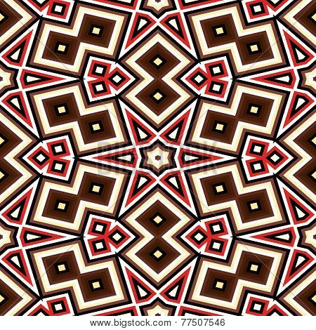Seamless Geometric Pattern In Red And Brown