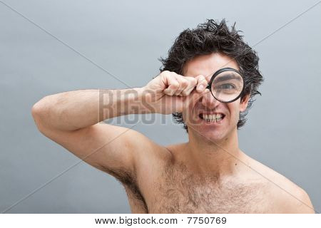 Curious Man With Magnifier