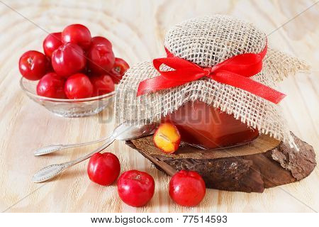 Jam, Confiture Of Malpighia Glabra (red Acerola) In Jar And Fresh Fruitsin Bowl