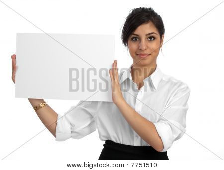 Young Businesswoman Holding Empty Sign
