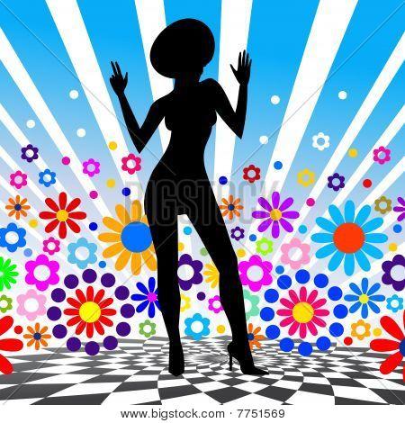Silhouette of dancing girl. Vector illustration.