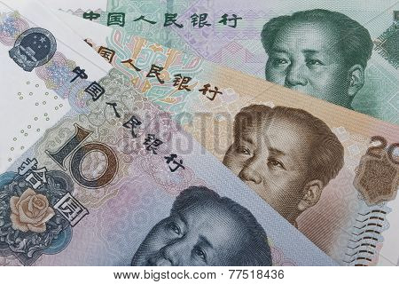Chinese money (RMB). (10 20 and 50 RMB note). poster