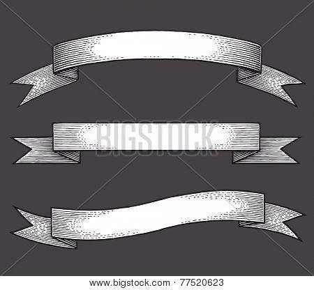 Vintage ribbon banners, hand drawn set.