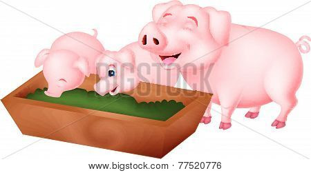 Happy cartoon pig eating
