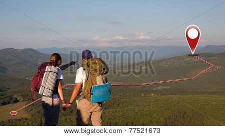 Concept Of Tourists Couple With Gps Icons. Navigation On The Mountains. Global Positioning System. P
