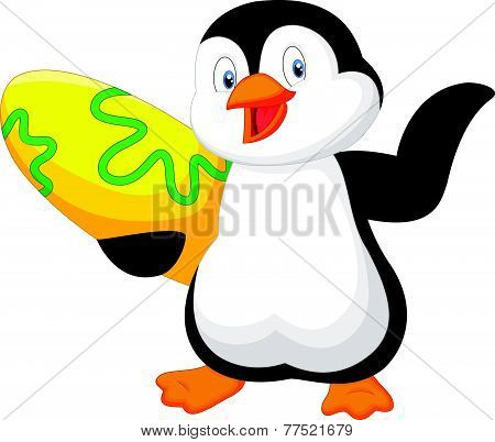 Penguin holding surfing board