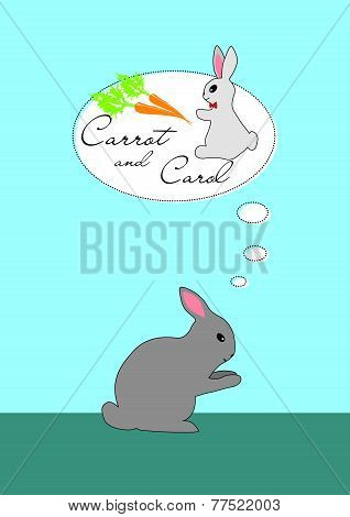 Rabbit Thinking About Carrot And Girl Carol