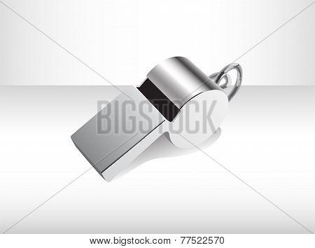 Metallic isolated whistle.