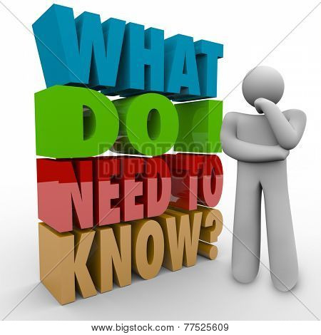 What Do I Need to Know words in 3d letters beside a thinker wondering about information he must have for a job, task or learning in education