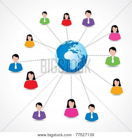 Social network concept with male and female icons around earth stock vector