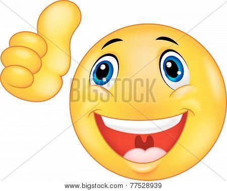 Happy smiley emoticon giving thumbs up
