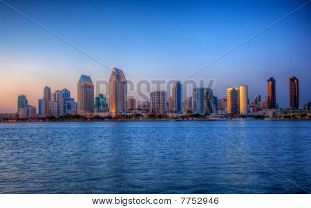 San Diego Skyline On Clear Evening In Hdr