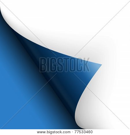 Bottom Left Corner of white paper turned over with blue background poster