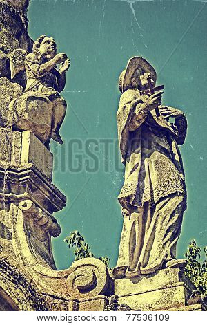 Old Photo With Plague Monument