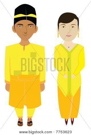 Malaysia Malays Traditional Costume Illustration in Vector