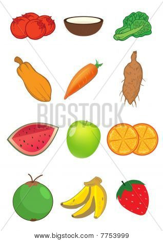 Fruits And Vegetables In Vector