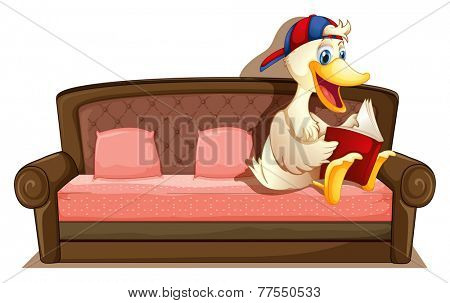Illustration of a duck sitting on a sofa