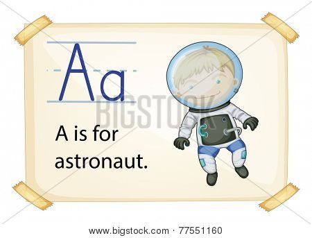 A letter A for astronaut on a white background