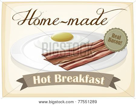 A breakfast template with a plate of food on a white background