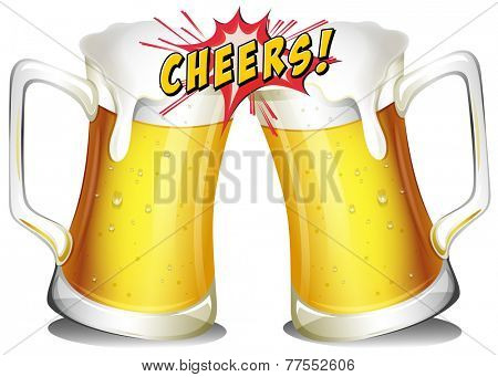 Mugs of beers on a white background