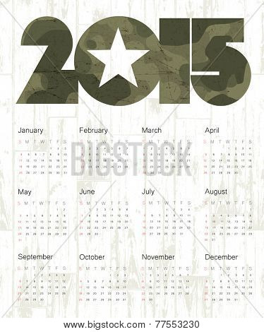 Military Calendar 2015. Raster version