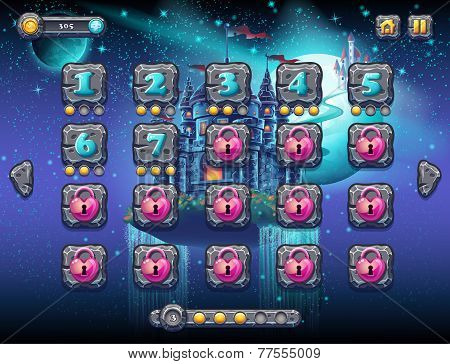 Illustration fabulous space with cheerful planets with the example screen levels the game interface with a progress bar panel objects buttons for gaming or web design poster